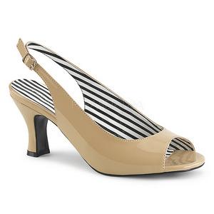 Beige Kiiltonahka 7,5 cm JENNA-02 suuret koot sandaalit naisten