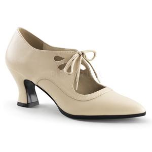 Beige Matta 7 cm retro vintage VICTORIAN-03 Naisten kengät avokkaat