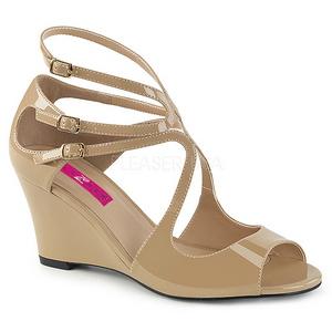 Beiget Kiiltonahka 7,5 cm KIMBERLY-04 suuret koot sandaalit naisten