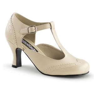 Beiget Matta 7,5 cm retro vintage FLAPPER-26 Naisten kengät avokkaat