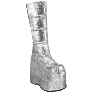 Hopea Glitter 18 cm STACK-301G demonia saappaat - unisex cyberpunk saappaat
