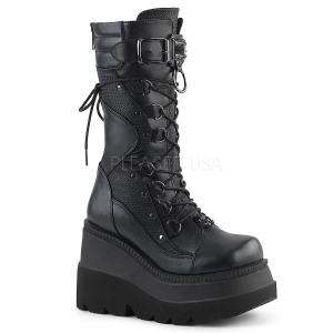 Keinonahka 11,5 cm SHAKER-70 Musta punk saappaat nauhoja