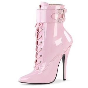 Kiiltonahka 15 cm DOMINA-1023 Vaaleanpunaiset piikkikorko nilkkurit