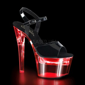 Kiiltonahka 18 cm FLASHDANCE-709 strippari kengät tankotanssi sandaletit LED hehkulamppu