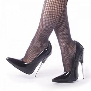 Musta Lakka 15 cm SCREAM-01 Fetish Avokkaat Kengät