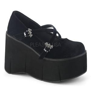 Musta Sametti 11,5 cm KERA-10 lolita kengät paksut pohjat