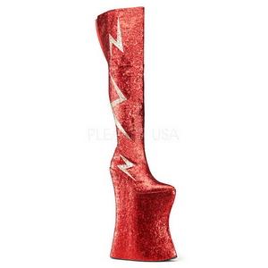 Punaiset Kimalle 34 cm VIVACIOUS-3016 Reisisaappaat varten Drag Queen