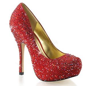 Punaiset Kimaltelevia Kiviä 13,5 cm FELICITY-20 naisten kengät korkeat korko