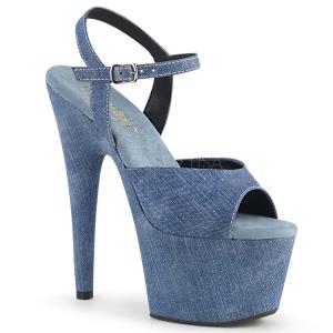 Sininen Keinonahka 18 cm ADORE-709WR naisten korkosandaalit