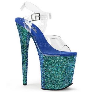 Sininen Kimalle 20 cm FLAMINGO-808LG Platform Korkeakorkoiset Kengät