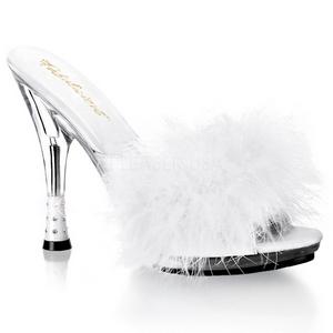 Valkoinen 12,5 cm GLITZY-501-8 Marabou Höyhenet Puu Kengät