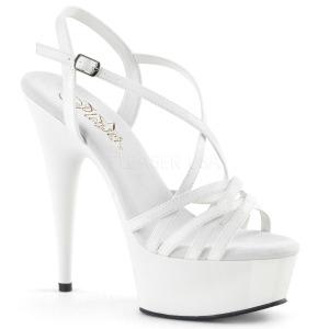 Valkoinen 15 cm Pleaser DELIGHT-613 Korkeakorkoiset platform sandaletit