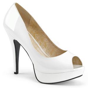 Valkoinen Kiiltonahka 13,5 cm CHLOE-01 suuret koot avokkaat kengät