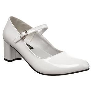 Valkoinen Lakatut 5 cm SCHOOLGIRL-50 klassiset avokkaat kengät naisten