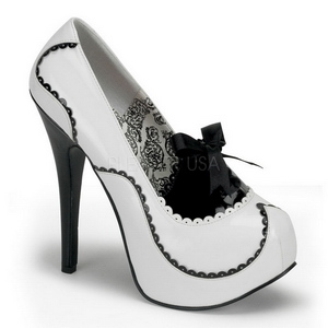 Valkoinen Lakka 14,5 cm Burlesque BORDELLO TEEZE-01 Platform Avokkaat Kengät