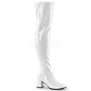 Valkoinen Lakka 8 cm GOGO-3000 naisten ylipolvensaappaat pikku korkoa