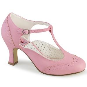Vegaani 7,5 cm FLAPPER-26 retro vintage avokkaat kengät t-strap vaaleanpunainen