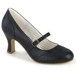 Vegaani 7,5 cm FLAPPER-32 retro vintage avokkaat kengät maryjane musta