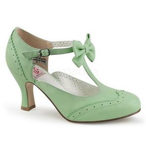 Vihreä 7,5 cm retro vintage FLAPPER-11 Pinup avokkaat kengät alhainen korot