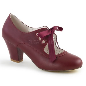 Viininpunainen 6,5 cm WIGGLE-32 Pinup avokkaat kengät paksu korko