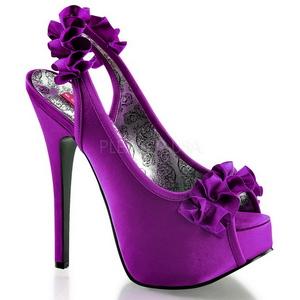 Violett Satiini 14,5 cm TEEZE-56 Korkeakorkoiset Kengät
