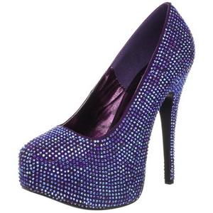 Violetti Kristalli 14,5 cm Burlesque TEEZE-06R Platform Avokkaat Kengät