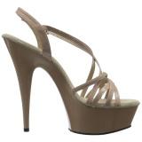 Beige 15 cm Pleaser DELIGHT-613 Korkeakorkoiset platform sandaletit