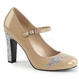 Beige Kiiltonahka 10 cm QUEEN-02 suuret koot avokkaat kengät