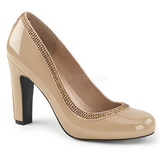 Beige Kiiltonahka 10 cm QUEEN-04 suuret koot avokkaat kengät