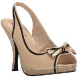 Beige Kiiltonahka 11,5 cm PINUP-10 suuret koot sandaalit naisten