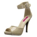 Beige Kiiltonahka 12,5 cm EVE-02 suuret koot sandaalit naisten