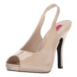 Beige Kiiltonahka 12,5 cm EVE-04 suuret koot sandaalit naisten
