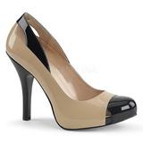 Beige Kiiltonahka 12,5 cm EVE-07 suuret koot avokkaat kengät