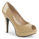 Beige Kiiltonahka 13,5 cm CHLOE-01 suuret koot avokkaat kengät