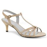 Beige Kiiltonahka 6 cm KITTEN-06 suuret koot sandaalit naisten