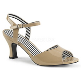 Beige Kiiltonahka 7,5 cm JENNA-09 suuret koot sandaalit naisten