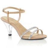 Beige Kimalle 8 cm BELLE-316 Naisten Sandaletit Korkea
