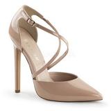 Beige Lakatut 13 cm SEXY-26 klassiset avokkaat kengät naisten