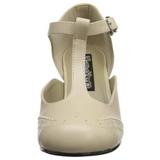 Beige Matta 7,5 cm retro vintage FLAPPER-26 Naisten kengät avokkaat