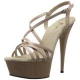 Beiget 15 cm Pleaser DELIGHT-613 Korkeakorkoiset platform sandaletit