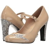 Beiget Kiiltonahka 10 cm QUEEN-02 suuret koot avokkaat kengät