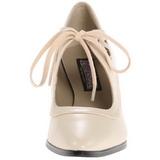 Beiget Matta 7 cm retro vintage VICTORIAN-03 Naisten kengät avokkaat