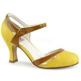 Keltainen 7,5 cm retro vintage FLAPPER-27 Pinup avokkaat kengät alhainen korot