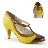 Keltainen 8 cm retro vintage PEACH-03 Pinup avokkaat kengät alhainen korot