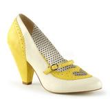 Keltainen 9,5 cm POPPY-18 Pinup avokkaat kengät alhainen korot