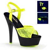 Keltainen pitsi kangas 15 cm KISS-209ML Sandaalit Neon Platform