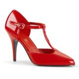 Kiiltonahka 10 cm VANITY-415 avokärkiset avokkaat kengät t-strap punainen