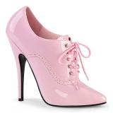 Kiiltonahka 15 cm DOMINA-460 nauha avokkaat kengät oxford vaaleanpunainen