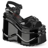 Kiiltonahka 15 cm Demonia WAVE-09 lolita platform kiilakorkosandaalit