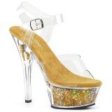 Kulta 15 cm KISS-208GF kimallus platform sandaalit naisten